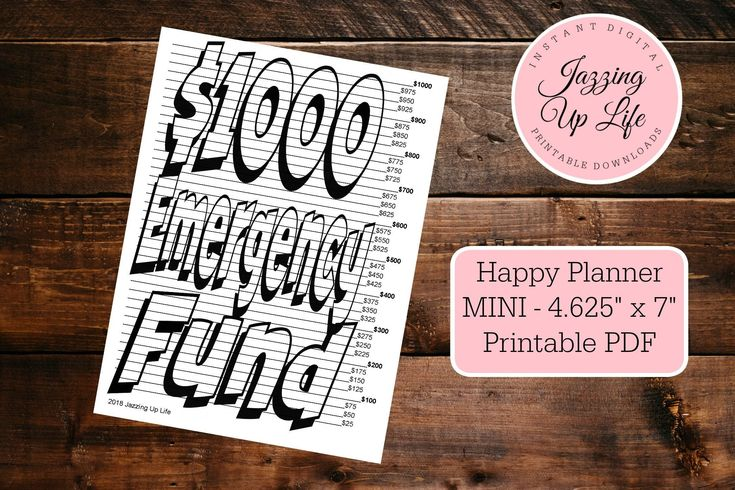 Mini hp 1000 dollar emergency fund chart happy planner