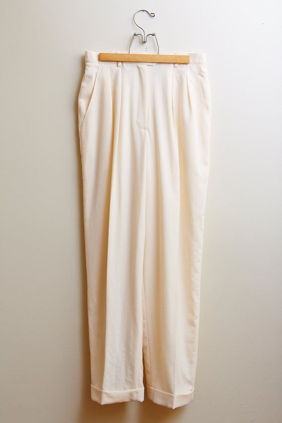 Vintage 1990s Ralph Lauren Alabaster Wool High-waisted Women's Trousers