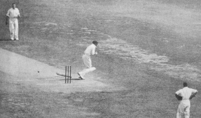 Bodyline. Larwood steamed in and let a thunderbolt fly, missing Woodfulls head by a slim margin. Larwoods next ball flew off the pitch and thudded sickeningly into Woodfulls chest, directly over his heart. Woodfull dropped his bat and staggered away from the pitch. In the second of silence before a roar of disapproval rose from the crowd, Jardine yelled to Larwood, Well bowled, Harold!
