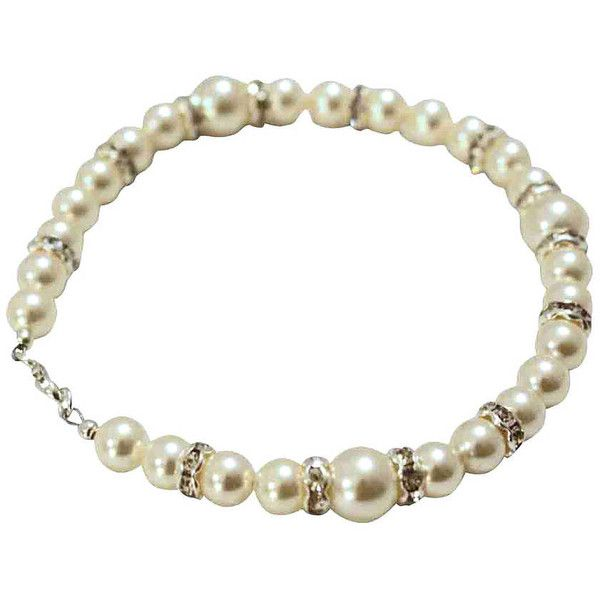 Tantrums and Tiaras Pristine Pearl And Diamante Bridal Bracelet ($44) ❤ liked on Polyvore featuring jewelry, bracelets, pearl jewelry, bridal bangles, pearl jewellery, pearl bangle and bridal jewellery