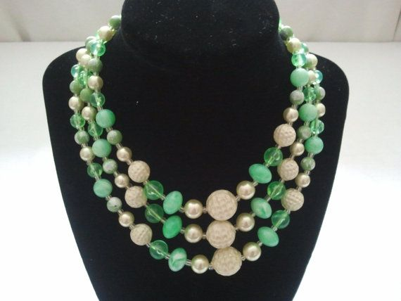 Vintage 1960's 3 strand Green Golf Ball necklace