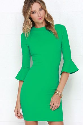 Chic Green Dress - Long Sleeve Dress - Bodycon Dress - $74.00