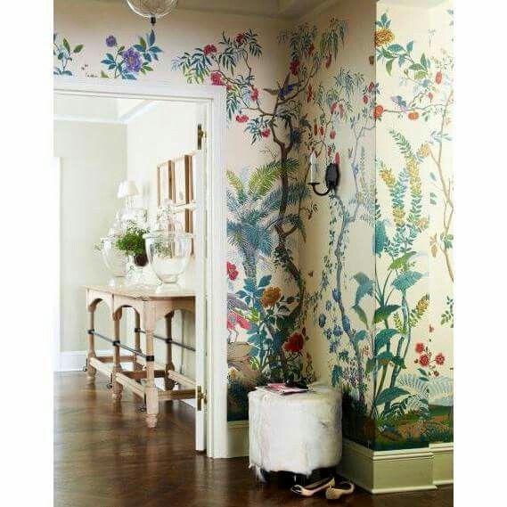 Wallpaper hallway interior