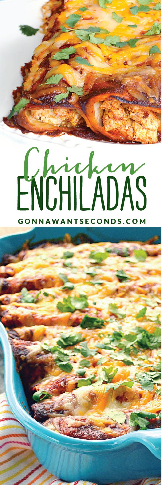 My FAVORITE Enchiladas! These Shredded Chicken Enchiladas are loaded with lots of chicken,  gooey cheese, sour cream and mild green chilies. Delicious and healthy~always a family favorite. Use a rotisserie chicken and dinners a snap!