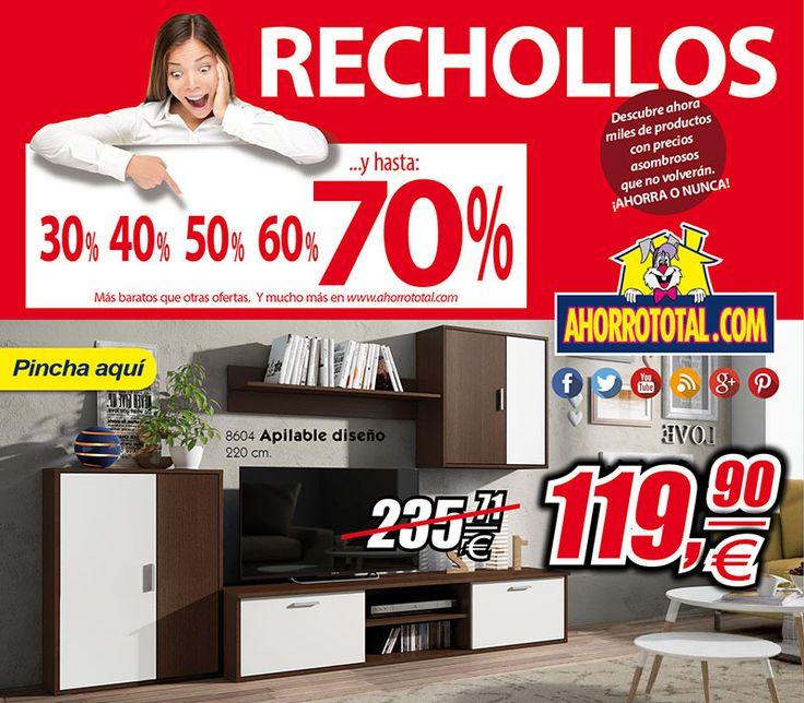 Llegan los Rechollos a Ahorro Total  Fantástica oportunidad, mueble de salón diseño moderno y muy económico El mueble de salón MÁS BARATO DEL MERCADO. Ahora a un precio imbatible. ¡¡Aprovéchate!!  #rechollos #ahorraonunca  http://www.ahorrototal.com/es/apilables/35558-apilable-supereconomico-colores-wengue-blanco-220-cm-super-ventas.html?utm_source=redes_sociales