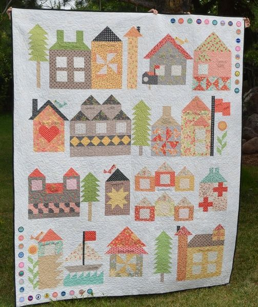 Moda Be My Neighbor Free Quilt Pattern -- So cute!  I love all the little houses.  Reminds me of the beautifully illustrated picture-books we enjoyed as children.