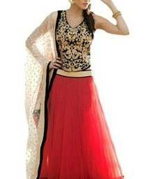 Buy Red plain net unstitched lehenga choli lehenga-choli online