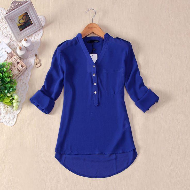 AQ60 European Style Ladies V-neck Chiffon Shirts All-match Long Sleeve Sheer Summer White Blue Chiffon Blouses Shirt Tops