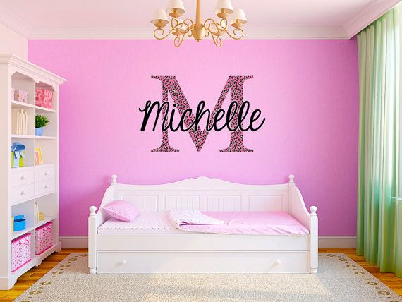 Pink Cheetah Monogram Name Girls Room Vinyl Wall by StickerHog, $49.99