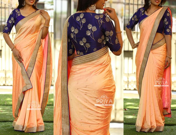 PV 3233  : Peach and BluePrice        : 4850u20b9Watch out for the seasons best combinations with mix of pastels and dark colours. An out and out peach malai silk finished with kundan border and tinge of blue colourUnstitched blouse piece - Navy blue blouse piece as shown in the pictureFor Orders  please drop us an email to privacollective@gmail.com or call us at 9160560480/9989888510  11 February 2017