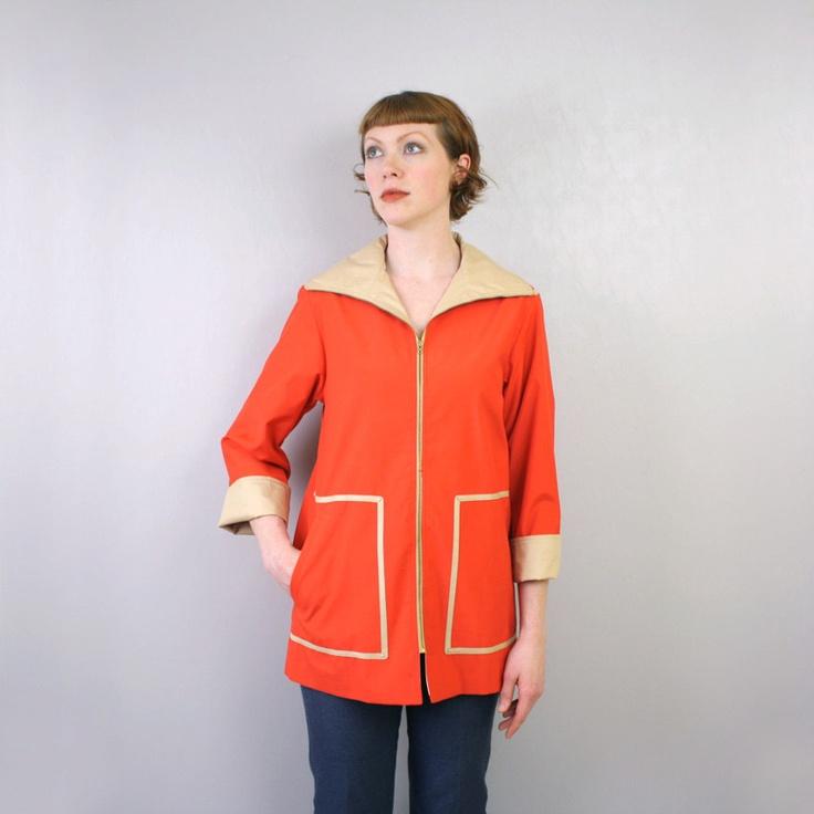 vintage 1970s coat / Bonnie Cashin jacket / red and tan lightweight raincoat. $65.00, via Etsy.