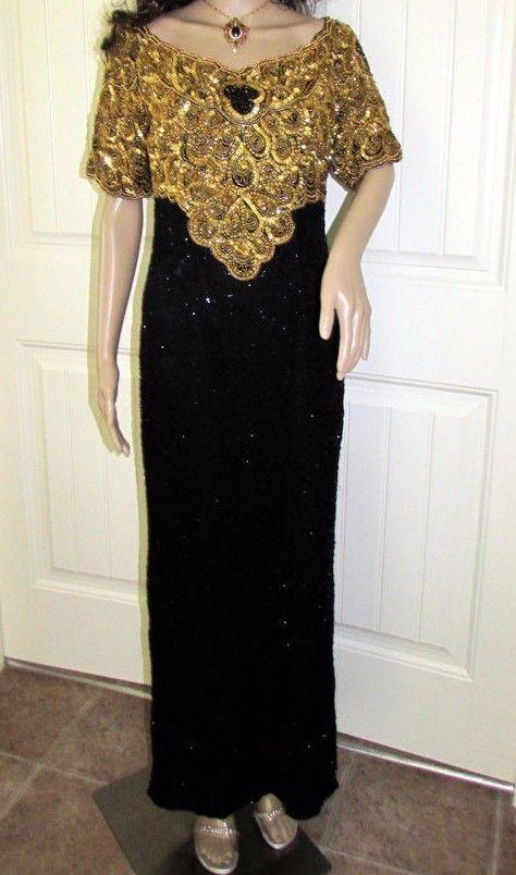 VTG Dress Formal Gown Long Evening Sequin Beaded Wedding Party Mother Bride Sz S #LawrenceKazar #EveningGown