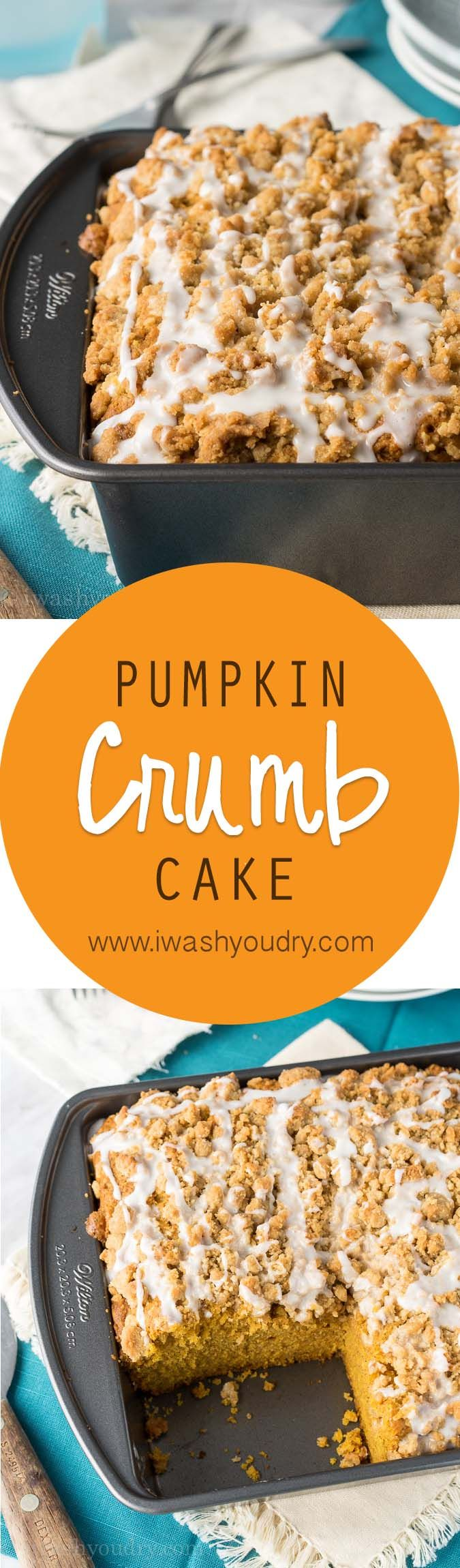The most soft and delicious Pumpkin Crumb Cake with a sweet icing drizzled over a mound of delicious crumb topping! Such a great cake for this Fall!