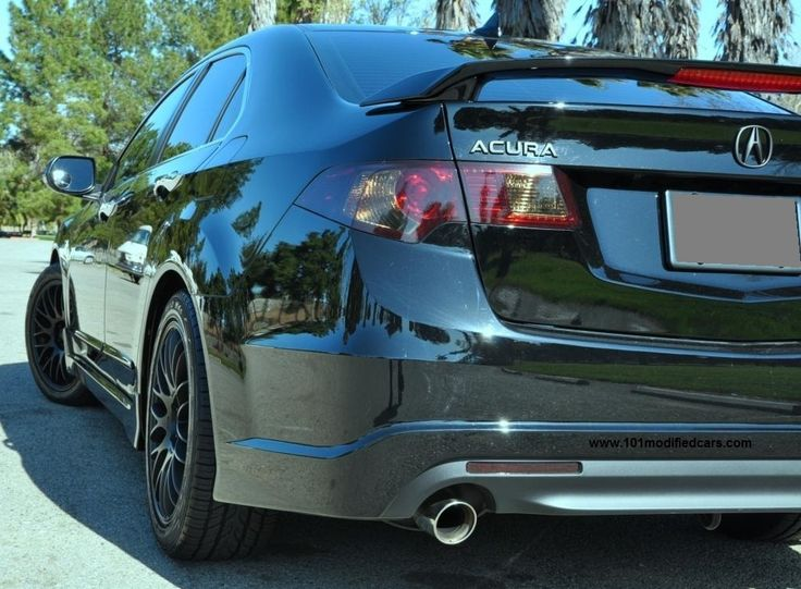 Modified Acura TSX Sedan (2nd generation, CU2) rear black bumper, rear spoiler, black out tail light and Tenzo Type-M wheels