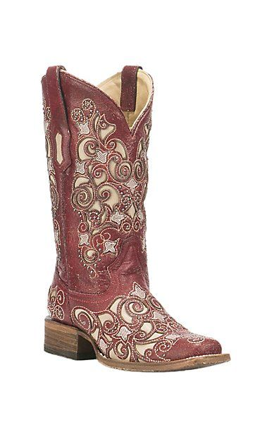 Corral Boot Company Women's Red with Ivory Inlay and Studded Detail Western Square Toe Boots | Cavender's