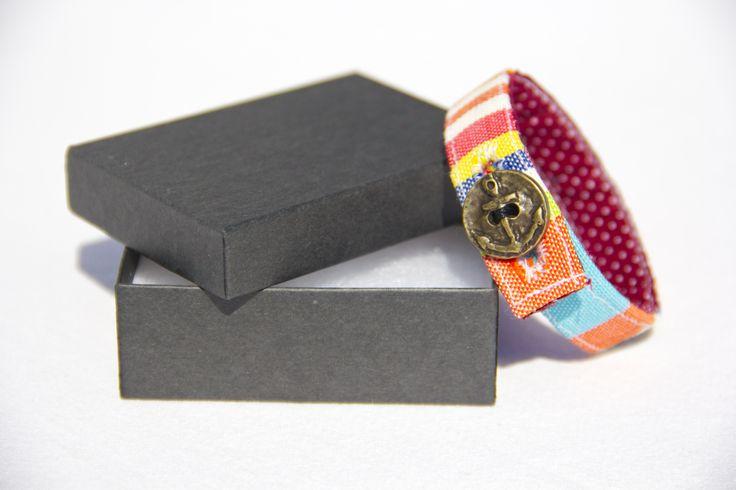 Material Anchor Bracelet - Denim Rainbow