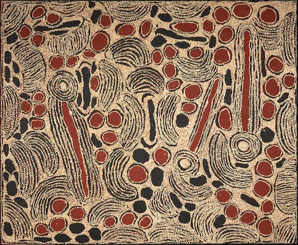 Ningura Napurrula (born circa 1938) -  (Designs Associated with the Rockhole Site of Wirrulnga), 2007   inscribed verso with artist's name and Papunya Tula cat. NN0710225 -  synthetic polymer paint on linen  153.0 x 183.0cm (60 1/4 x 72 1/16in).