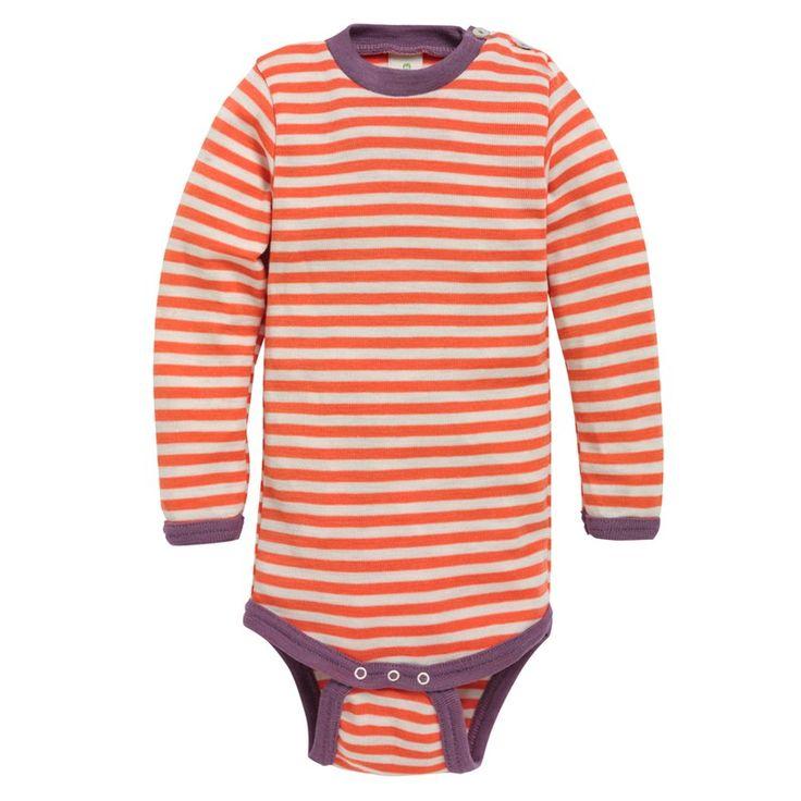 Langermet body, ull/silke: Body med ståkrage og lange ermer. 70% merinoull, 30% silke. fra Nøstebarn.