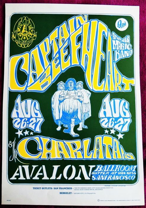 """Zeldzame psychedelische """"Captain Beefheart"""" Dance Concert Poster San Francisco 1966  Dit is een zeldzame Stanley muis en Alton Kelly poster (ca. 14 x 20)Het werd gebruikt om een paar shows met de Charlatans in de legendarische Avalon Ballroom in San Francisco. Een grote familie Dog Show.Deze klassieke jaren zestig psychedelische afbeelding werd ontworpen door Stanley muis en de late Alton Kelly en is het 23 beeld in de hond van de familie-serie.Het heet """"MERRY OLD SOULS"""" een zeer opvallende…"""