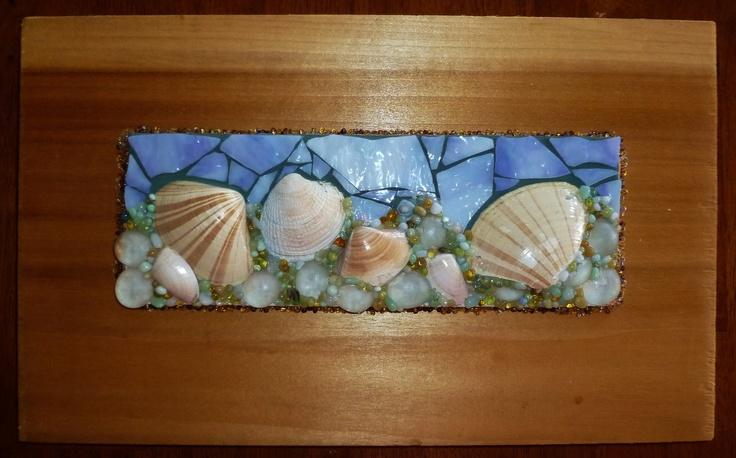 Seashells by the seashore mosaic art original work by for Seashell mosaic art
