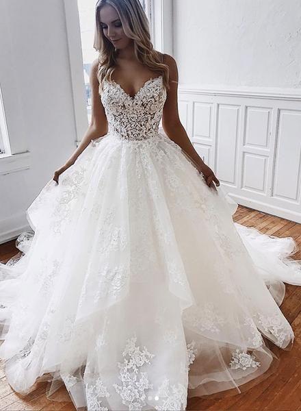 White v neck lace long prom dress, wedding dress