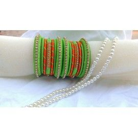 Bangle set made of silk thread in green and orange colour