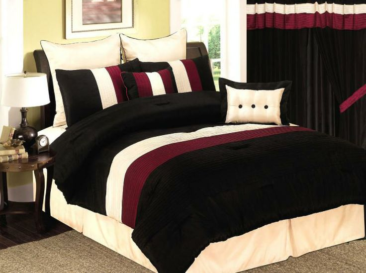 Burgundy and black velvet comforter bed set details for Black and burgundy bedroom ideas
