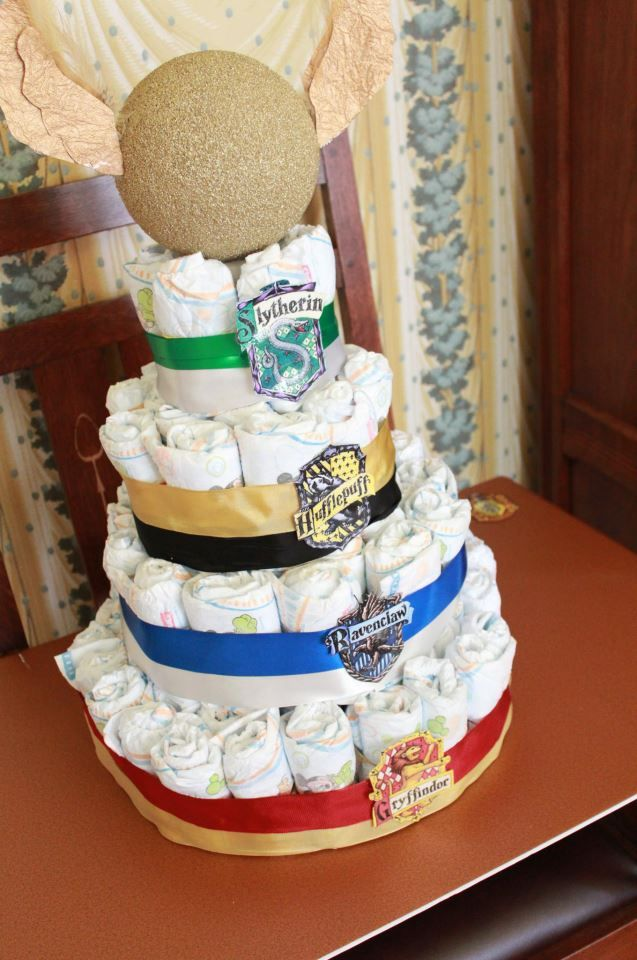 From my incredible and magical Harry Potter-themed baby shower - A diaper wreath with the Hogwarts Houses and a golden Snitch!!