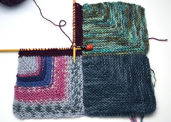 Detailed directions for knitting a mitered-square blanket.