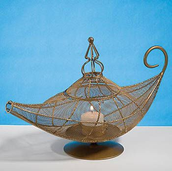 This Magic Lamp Centerpiece will make your event wishes come true! This metal lamp centerpiece is 12 inches long and 8 inches high.