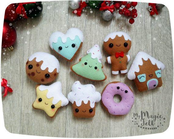 Ornement de Noël en feutrine ornements de pain d'épice décorations de sapin de Noël biscuit feutre ornements de fête de Noël favorise le décor de la nouvelle année