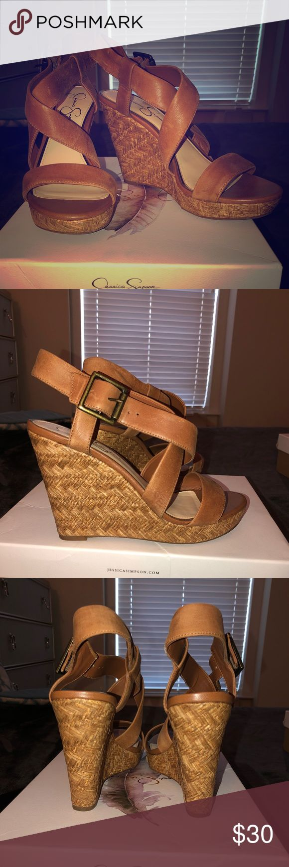 Jessica Simpson Wedge Sandals In Burnt Umber Jessica Simpson Wedge Sandals in Burnt Umber. Size 9.5. Lightly worn. One small scuff. Comes with box. Jessica Simpson Shoes Wedges