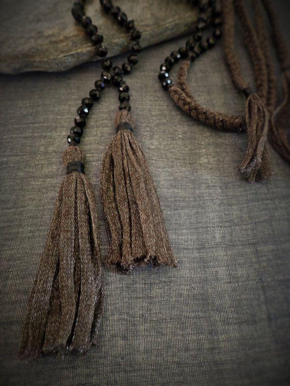 Long beaded tassel necklace Long boho by EvisHandmadeJewels