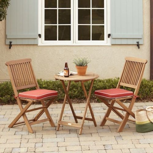outdoor folding bistro set patio furniture table chairs garden eucalyptus wood