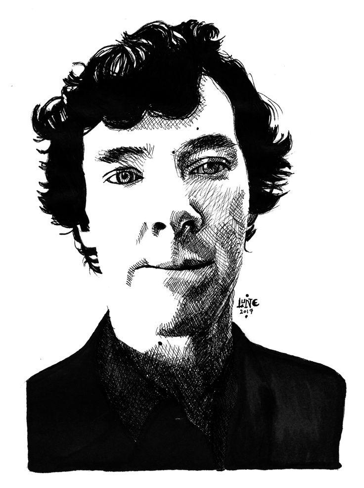 Deducing. Benedict Cumberbatch as Sherlock, in the BBC Series Sherlock, episode A Scandal In Belgravia. Done in Pigma Micron in a Fabriano Sketchbook.