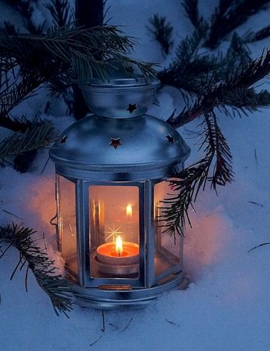 lantern in snow | Candle Holders And More | Winter scenes ...
