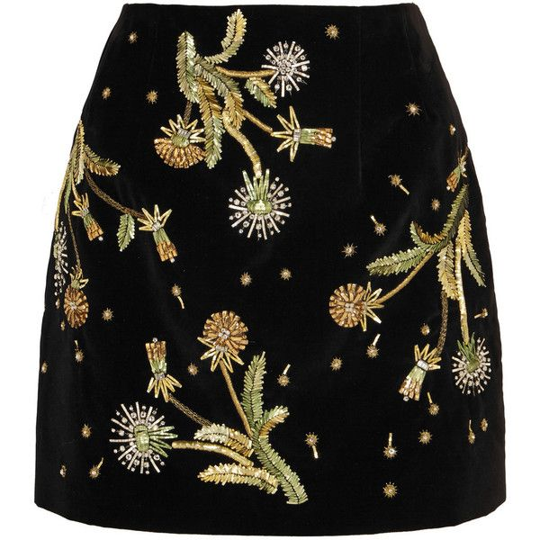 Topshop Unique Brunswick embellished cotton-velvet mini skirt ($750) ❤ liked on Polyvore featuring skirts, mini skirts, bottoms, short mini skirts, black miniskirt, cotton skirt, metallic mini skirt and embroidered skirt
