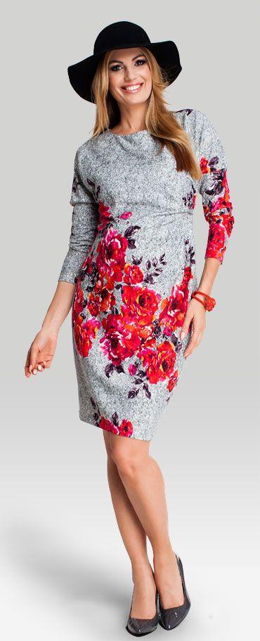 Happy mum - Carina трикотажное платье в цветочный узор для беременных
