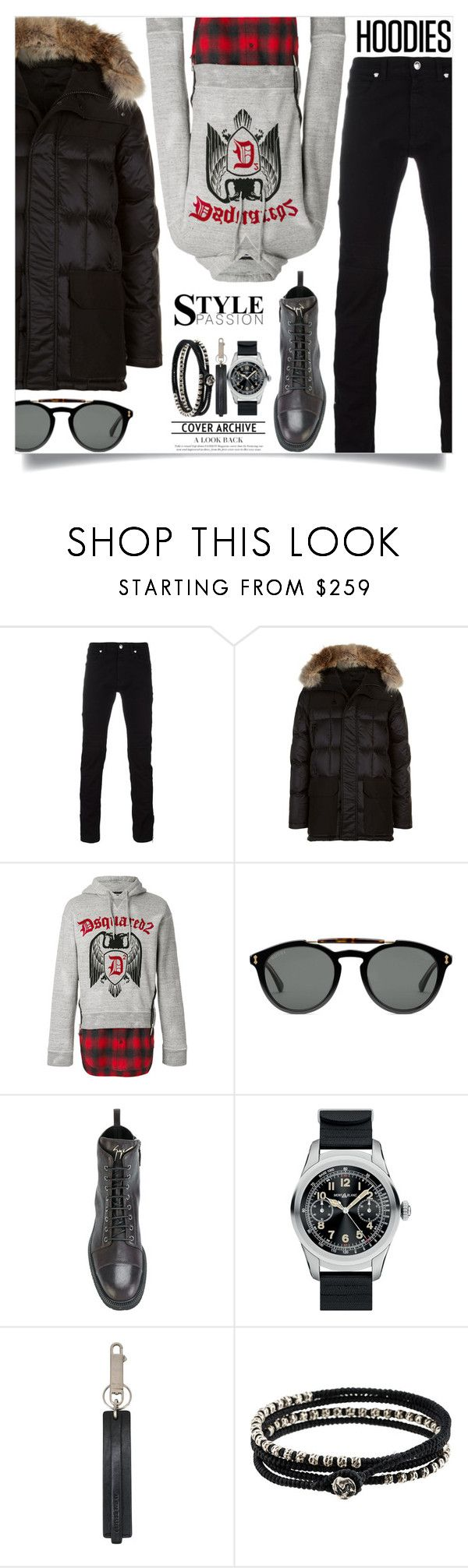 """""""In My Hood: Cozy Hoodies"""" by tina-abbara ❤ liked on Polyvore featuring Versace, Canada Goose, Dsquared2, Gucci, Giuseppe Zanotti, Montblanc, Rick Owens, M. Cohen, men's fashion and menswear"""