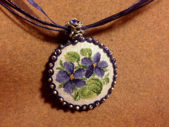 Embroidered necklace. Flower pendant. Pendant with by ArtLDesign