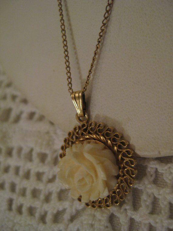 Signed C C 1 20 12k G F Carved Bone Rose Pendant Necklace Filigree 1 20 12k Carved Bone Rose Dangle Pendant Dainty Chain Necklace Rose Pendant Necklace Lengths