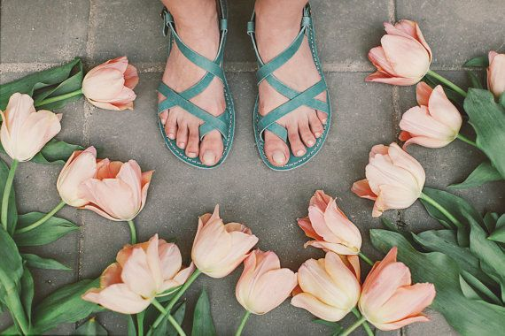 Blue Sandals Light Blue Leather Sandal by CruponSandals on Etsy tiptoe through the tulips!