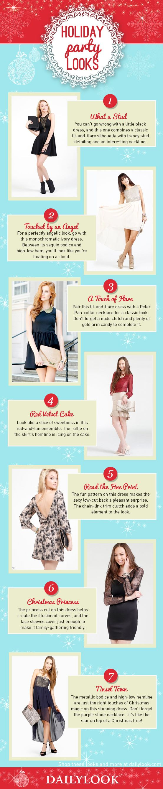 Holiday Party Looks: A DailyLook Style Guide. Click the image link to shop these looks! @dailylook #dailylook #dailylooksugarandspice