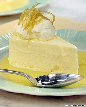 Frozen Lemon Mousse by Martha Stewart.  Not sure I should try making lemon curd from scratch for tomorrow's dinner party - but this would be a nice light thing to go with the salmon.
