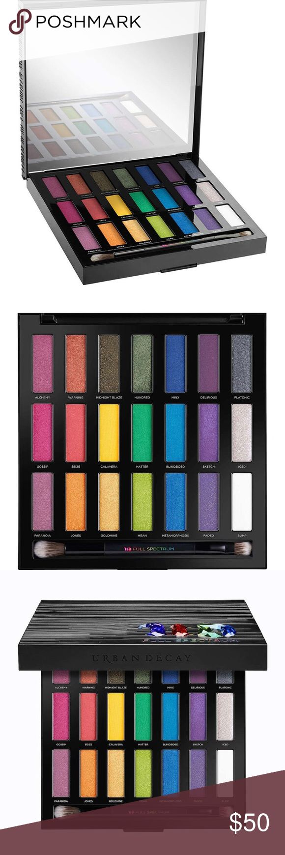 NIB Urban Decay Eyeshadow Pallet Full Spectrum Urban Decay 21 Color Eyeshadow Pallet   When color is your drug of choice, you know where to get the good stuff. Satisfy your color addiction with this Urban Decay Pallet. With 18 new shades and 3 exclusives from past pallets and wide range of finishes you'll never run out of options. Urban Decay Makeup Eyeshadow