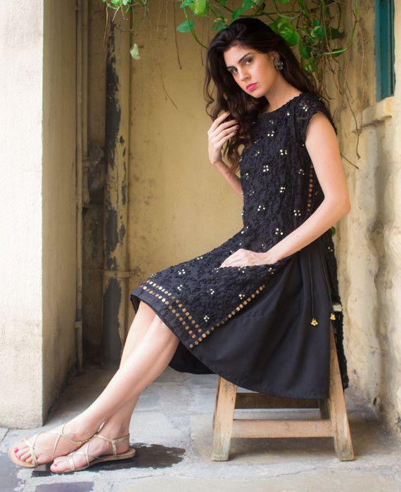 Hand Embroidered Chanderi Silk Phulkari Dress