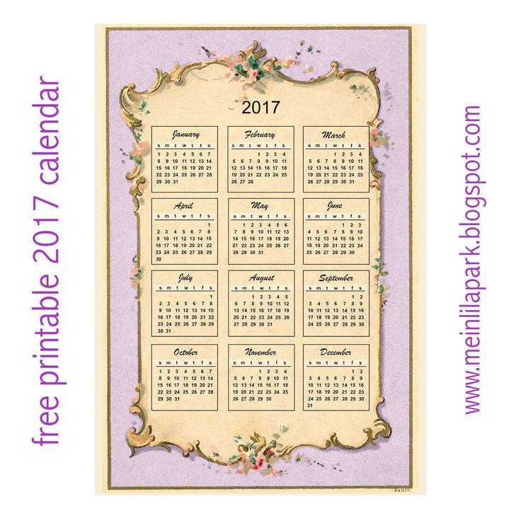 Free printable 2017 vintage design calendar ...
