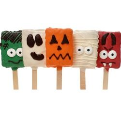 Idea for Halloween Rice Krispies Treats on a Stick With Ghoulish Faces… (DIY with colored melting chocolate)