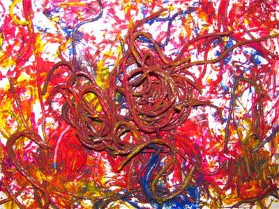 Spaghetti Worm Painting - The Chocolate Muffin Tree