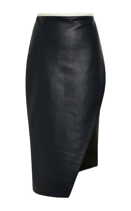 Asymmetrical Leather Pencil Skirt by Jonathan Simkhai for Preorder on Moda Operandi
